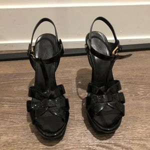 Authentic YSL black patent leather heels